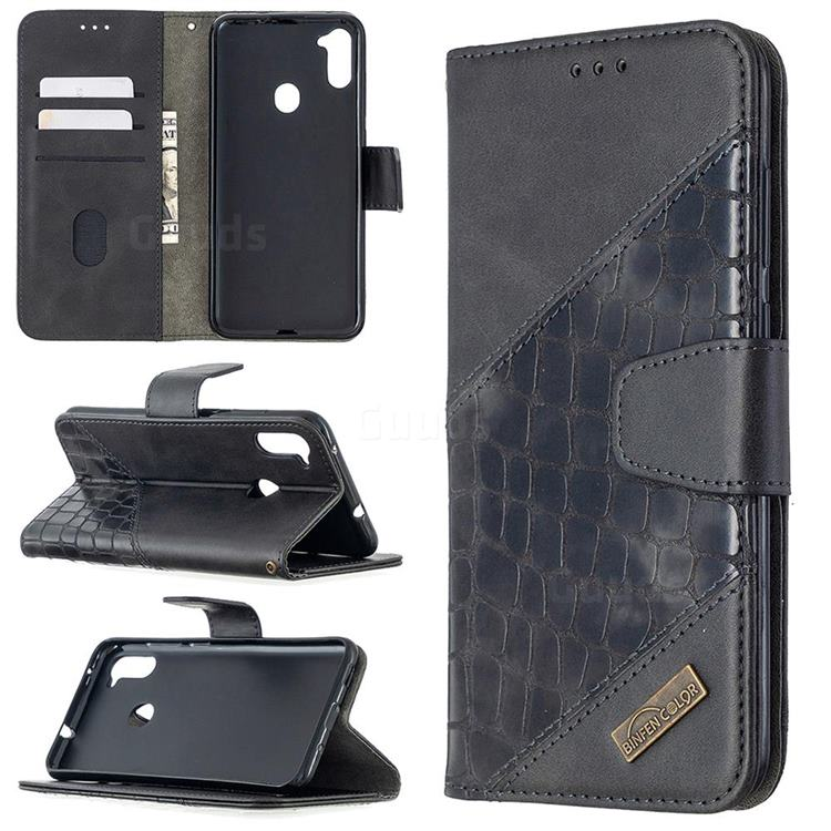 BinfenColor BF04 Color Block Stitching Crocodile Leather Case Cover for Samsung Galaxy A11 - Black