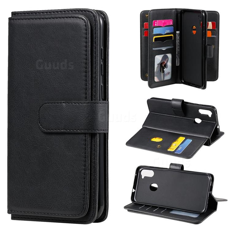 Multi-function Ten Card Slots and Photo Frame PU Leather Wallet Phone Case Cover for Samsung Galaxy A11 - Black