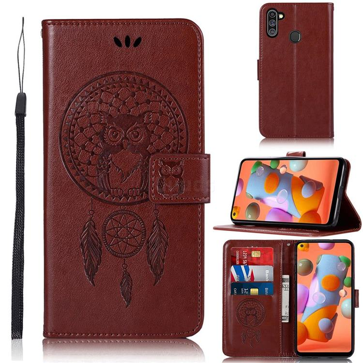 Intricate Embossing Owl Campanula Leather Wallet Case for Samsung Galaxy A11 - Brown