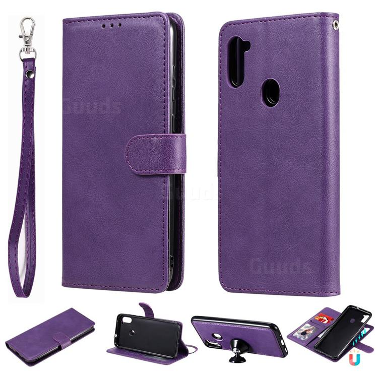 Retro Greek Detachable Magnetic PU Leather Wallet Phone Case for Samsung Galaxy A11 - Purple