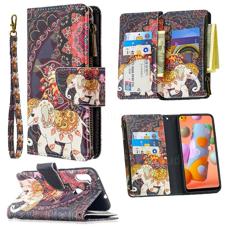Totem Flower Elephant Binfen Color BF03 Retro Zipper Leather Wallet Phone Case for Samsung Galaxy A11