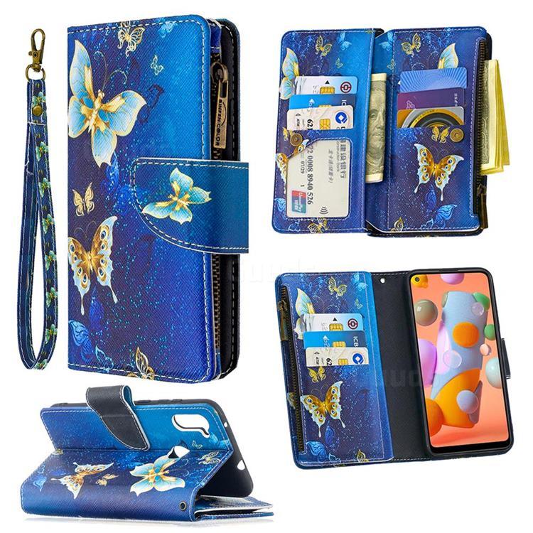 Golden Butterflies Binfen Color BF03 Retro Zipper Leather Wallet Phone Case for Samsung Galaxy A11