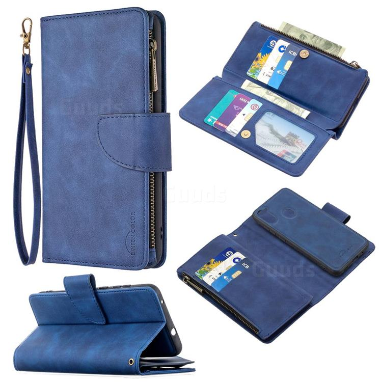 Binfen Color BF02 Sensory Buckle Zipper Multifunction Leather Phone Wallet for Samsung Galaxy A11 - Blue