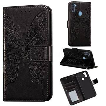 Intricate Embossing Vivid Butterfly Leather Wallet Case for Samsung Galaxy A11 - Black