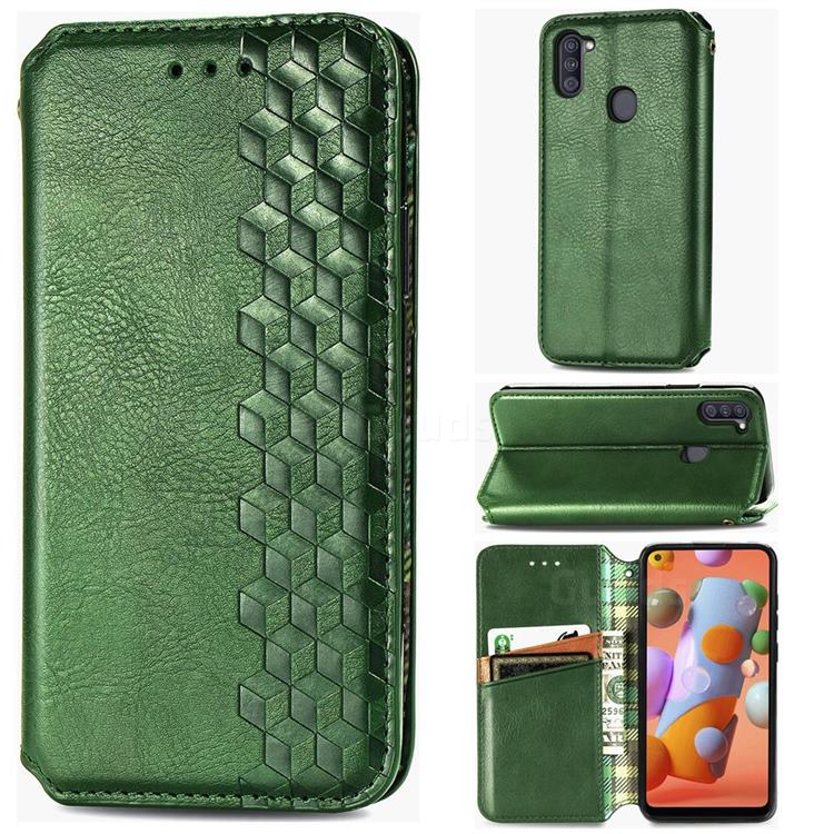 Ultra Slim Fashion Business Card Magnetic Automatic Suction Leather Flip Cover for Samsung Galaxy A11 - Green