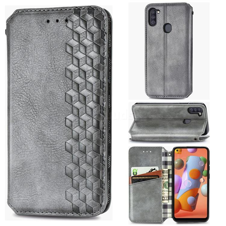 Ultra Slim Fashion Business Card Magnetic Automatic Suction Leather Flip Cover for Samsung Galaxy A11 - Grey