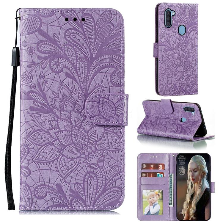 Intricate Embossing Lace Jasmine Flower Leather Wallet Case for Samsung Galaxy A11 - Purple