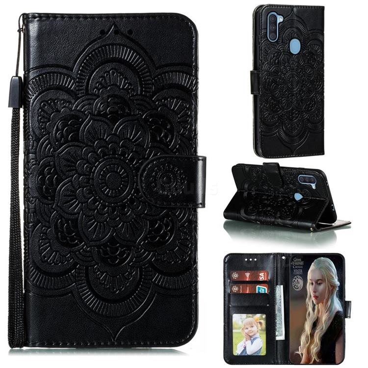 Intricate Embossing Datura Solar Leather Wallet Case for Samsung Galaxy A11 - Black