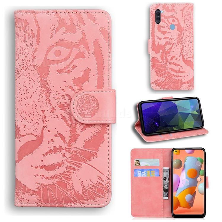 Intricate Embossing Tiger Face Leather Wallet Case for Samsung Galaxy A11 - Pink
