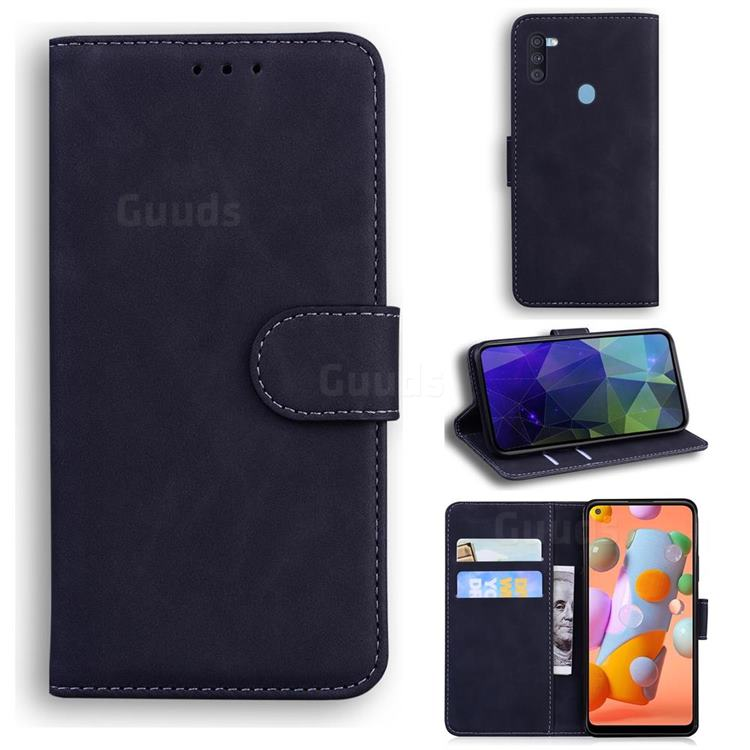 Retro Classic Skin Feel Leather Wallet Phone Case for Samsung Galaxy A11 - Black