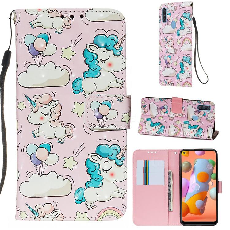 Angel Pony 3D Painted Leather Wallet Case for Samsung Galaxy A11