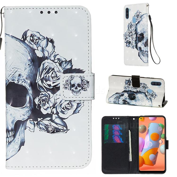 Skull Flower 3D Painted Leather Wallet Case for Samsung Galaxy A11