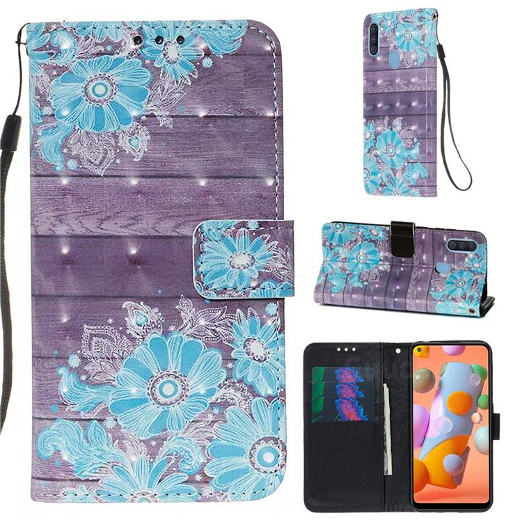 Blue Flower 3D Painted Leather Wallet Case for Samsung Galaxy A11