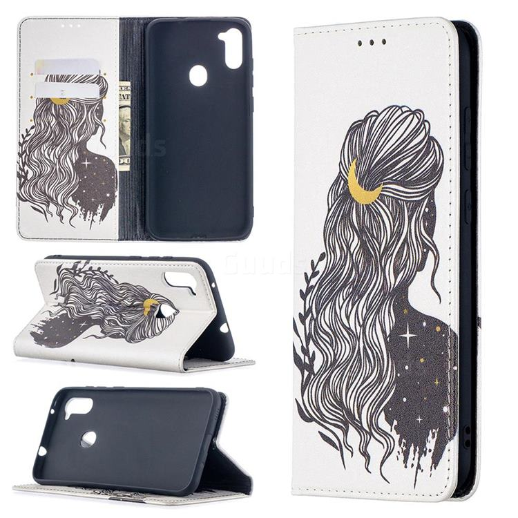 Girl with Long Hair Slim Magnetic Attraction Wallet Flip Cover for Samsung Galaxy A11