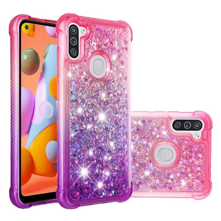 Rainbow Gradient Liquid Glitter Quicksand Sequins Phone Case for Samsung Galaxy A11 - Pink Purple
