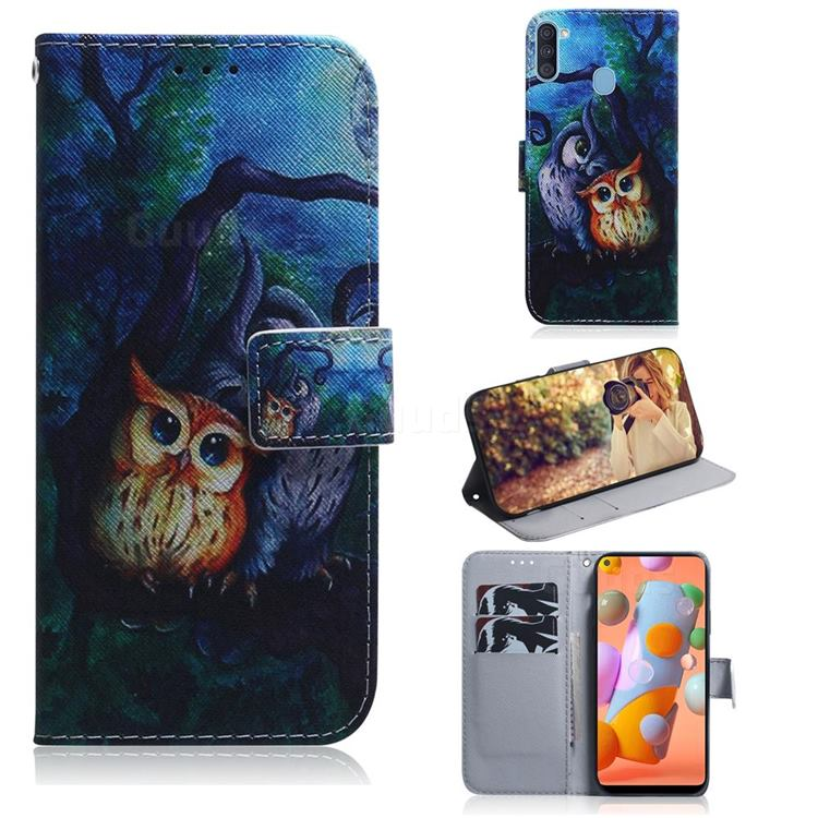 Oil Painting Owl PU Leather Wallet Case for Samsung Galaxy A11