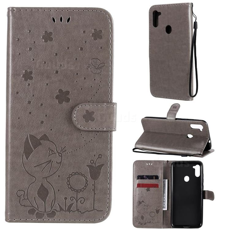 Embossing Bee and Cat Leather Wallet Case for Samsung Galaxy A11 - Gray