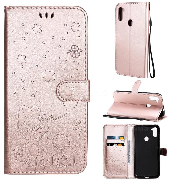Embossing Bee and Cat Leather Wallet Case for Samsung Galaxy A11 - Rose Gold