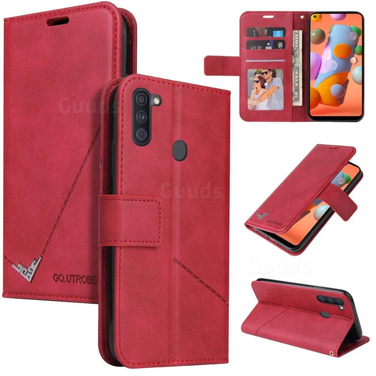 GQ.UTROBE Right Angle Silver Pendant Leather Wallet Phone Case for Samsung Galaxy A11 - Red