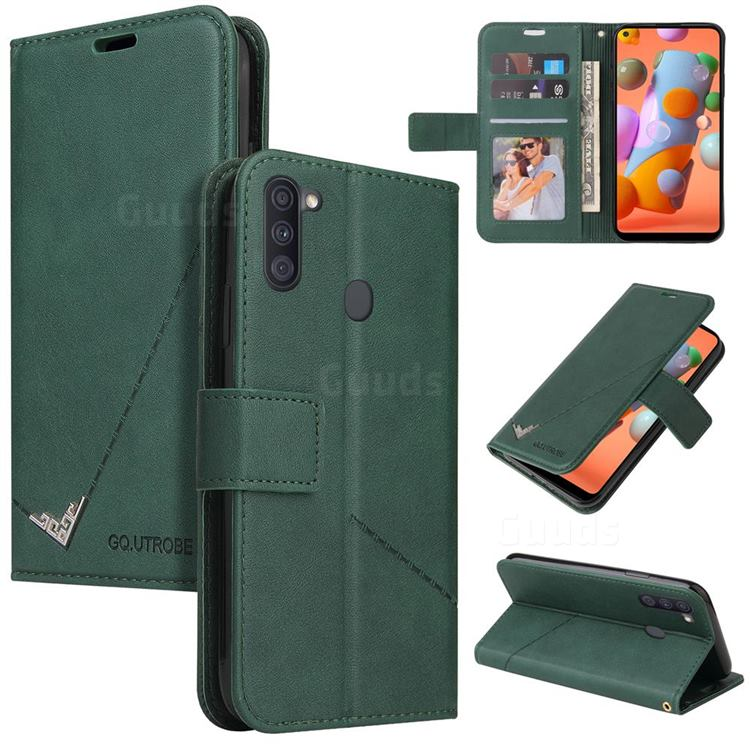 GQ.UTROBE Right Angle Silver Pendant Leather Wallet Phone Case for Samsung Galaxy A11 - Green