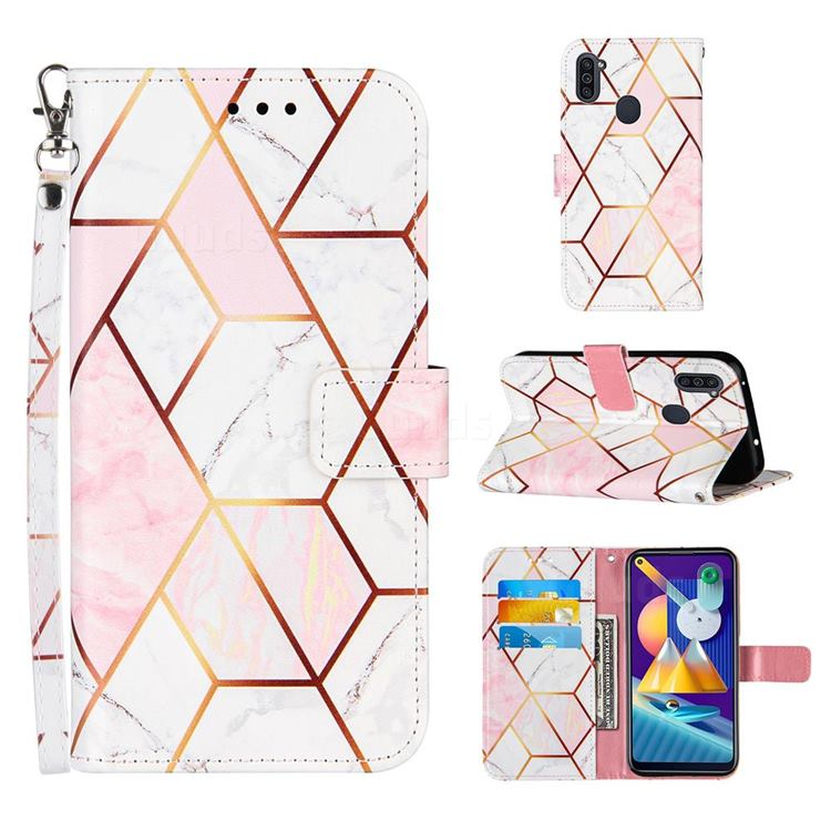 Pink White Stitching Color Marble Leather Wallet Case for Samsung Galaxy A11