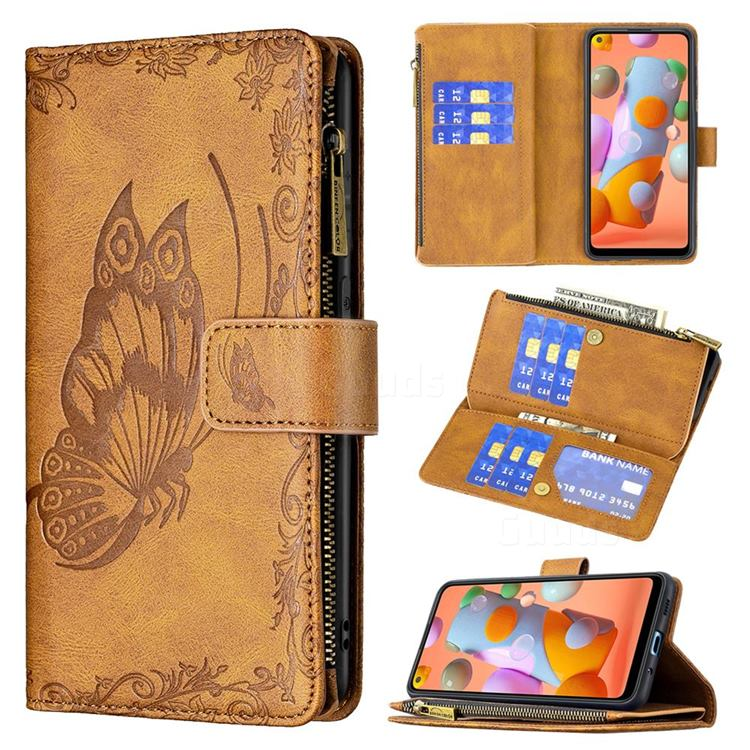 Binfen Color Imprint Vivid Butterfly Buckle Zipper Multi-function Leather Phone Wallet for Samsung Galaxy A11 - Brown