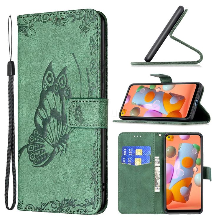 Binfen Color Imprint Vivid Butterfly Leather Wallet Case for Samsung Galaxy A11 - Green