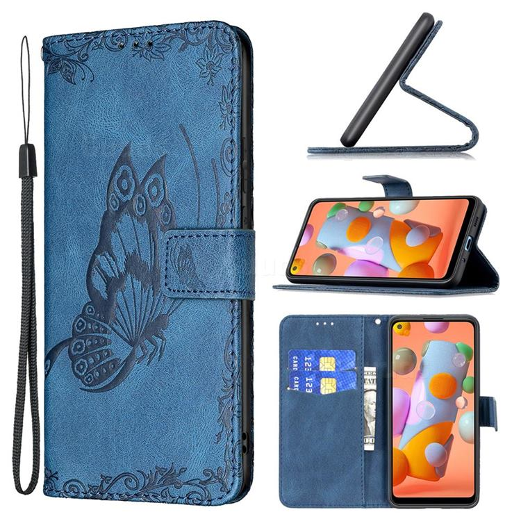 Binfen Color Imprint Vivid Butterfly Leather Wallet Case for Samsung Galaxy A11 - Blue