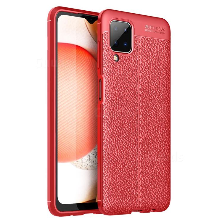Luxury Auto Focus Litchi Texture Silicone TPU Back Cover for Samsung Galaxy A12 - Red