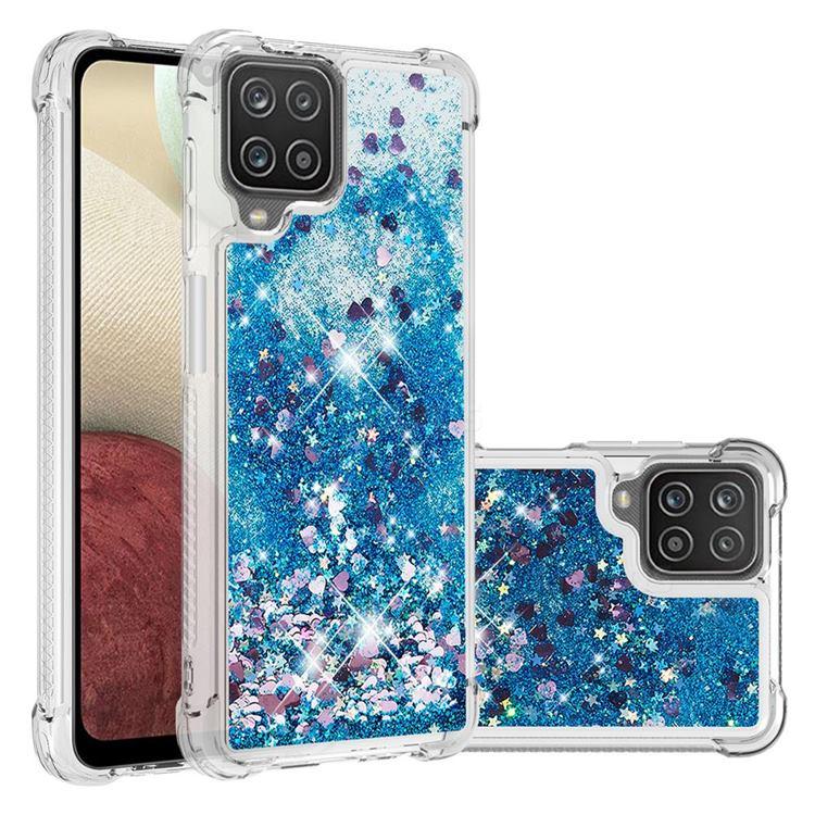 Dynamic Liquid Glitter Sand Quicksand TPU Case for Samsung Galaxy A12 - Blue Love Heart
