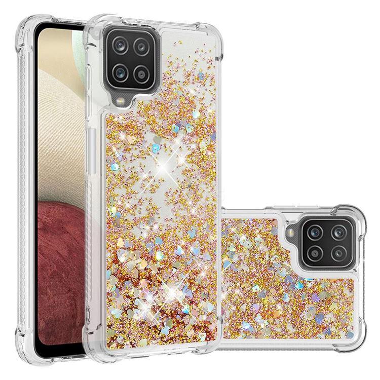 Dynamic Liquid Glitter Sand Quicksand TPU Case for Samsung Galaxy A12 - Rose Gold Love Heart