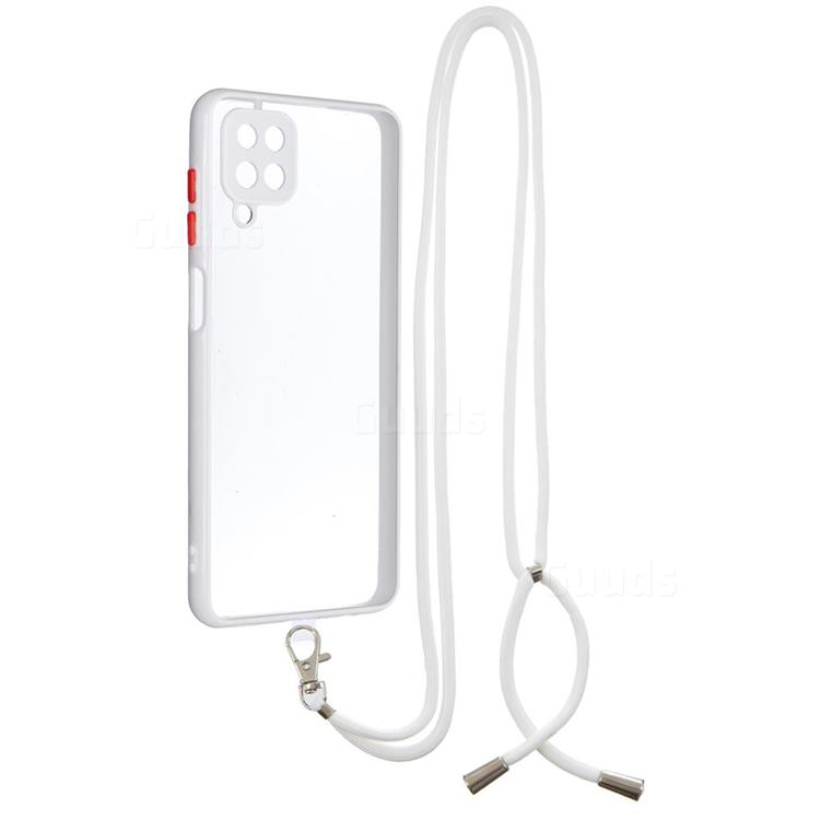 Necklace Cross-body Lanyard Strap Cord Phone Case Cover for Samsung Galaxy A12 - White