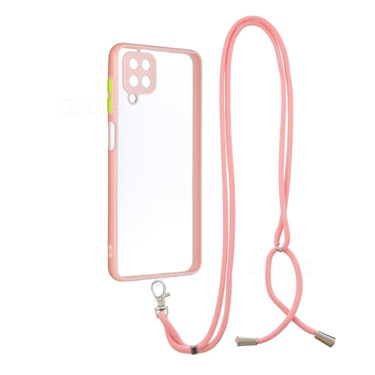 Necklace Cross-body Lanyard Strap Cord Phone Case Cover for Samsung Galaxy A12 - Pink