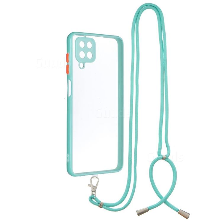 Necklace Cross-body Lanyard Strap Cord Phone Case Cover for Samsung Galaxy A12 - Blue