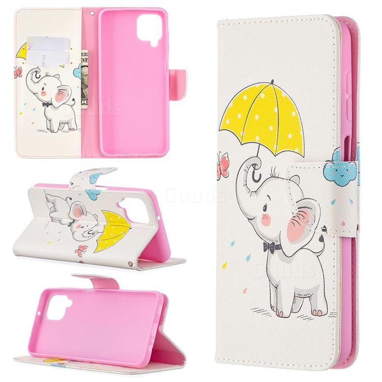 Umbrella Elephant Leather Wallet Case for Samsung Galaxy A12