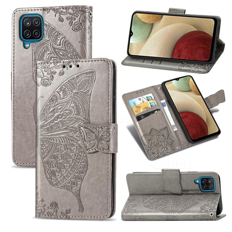 Embossing Mandala Flower Butterfly Leather Wallet Case for Samsung Galaxy A12 - Gray