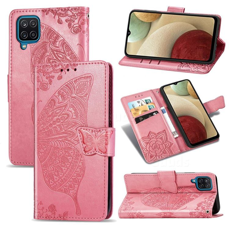 Embossing Mandala Flower Butterfly Leather Wallet Case for Samsung Galaxy A12 - Pink