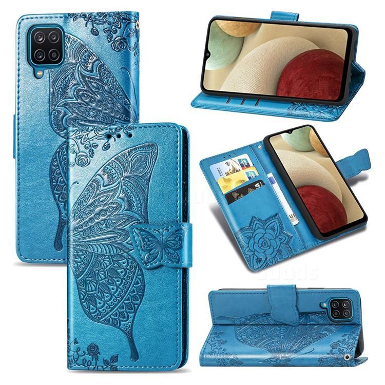 Embossing Mandala Flower Butterfly Leather Wallet Case for Samsung Galaxy A12 - Blue