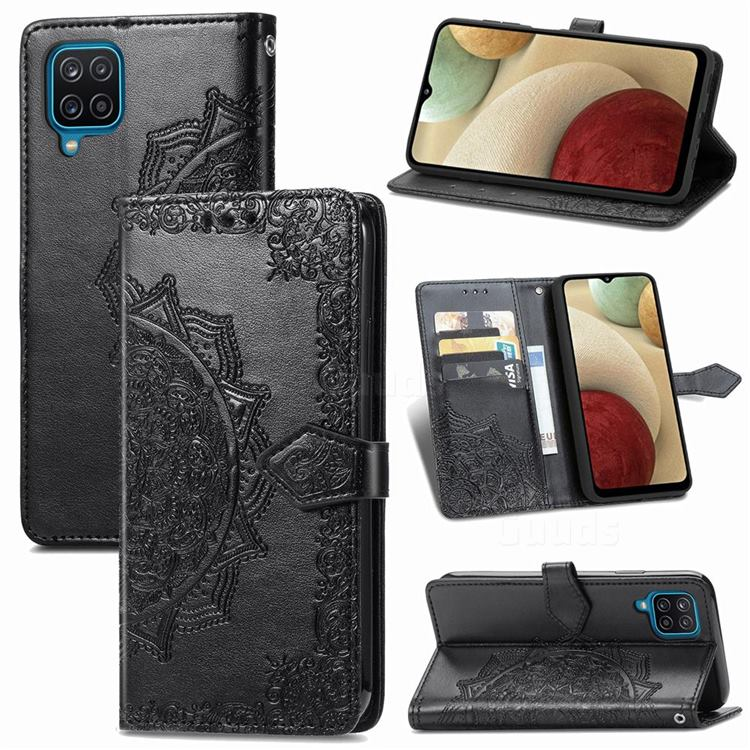 Embossing Imprint Mandala Flower Leather Wallet Case for Samsung Galaxy A12 - Black
