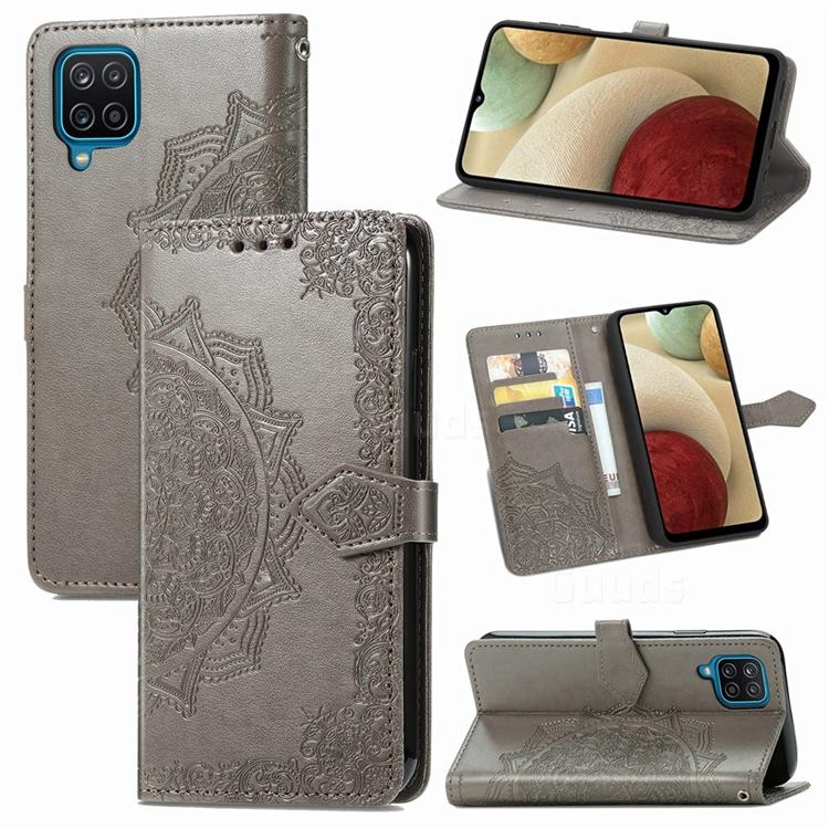 Embossing Imprint Mandala Flower Leather Wallet Case for Samsung Galaxy A12 - Gray