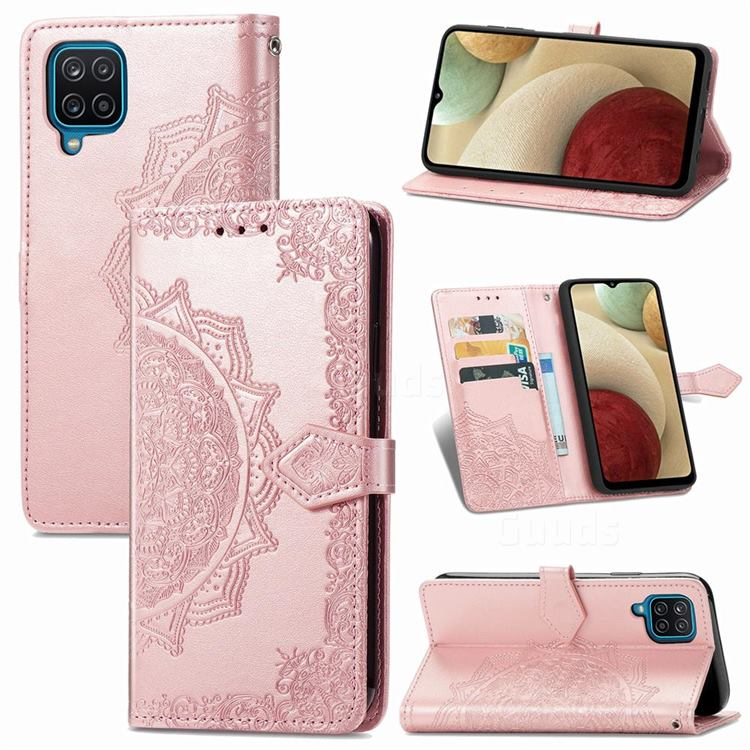 Embossing Imprint Mandala Flower Leather Wallet Case for Samsung Galaxy A12 - Rose Gold