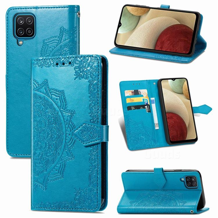 Embossing Imprint Mandala Flower Leather Wallet Case for Samsung Galaxy A12 - Blue