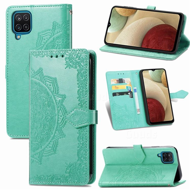 Embossing Imprint Mandala Flower Leather Wallet Case for Samsung Galaxy A12 - Green