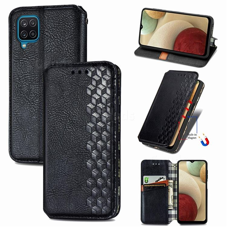 Ultra Slim Fashion Business Card Magnetic Automatic Suction Leather Flip Cover for Samsung Galaxy A12 - Black