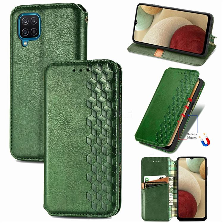 Ultra Slim Fashion Business Card Magnetic Automatic Suction Leather Flip Cover for Samsung Galaxy A12 - Green