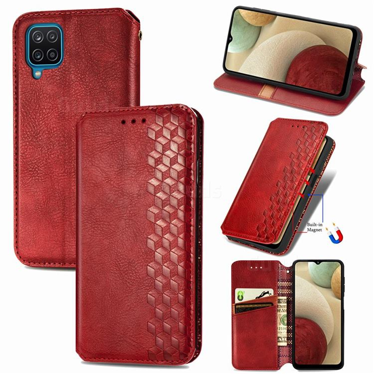 Ultra Slim Fashion Business Card Magnetic Automatic Suction Leather Flip Cover for Samsung Galaxy A12 - Red
