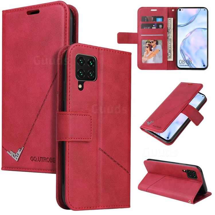 GQ.UTROBE Right Angle Silver Pendant Leather Wallet Phone Case for Samsung Galaxy A12 - Red