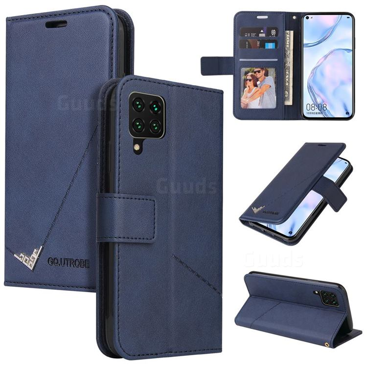 GQ.UTROBE Right Angle Silver Pendant Leather Wallet Phone Case for Samsung Galaxy A12 - Blue