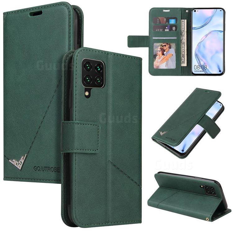 GQ.UTROBE Right Angle Silver Pendant Leather Wallet Phone Case for Samsung Galaxy A12 - Green