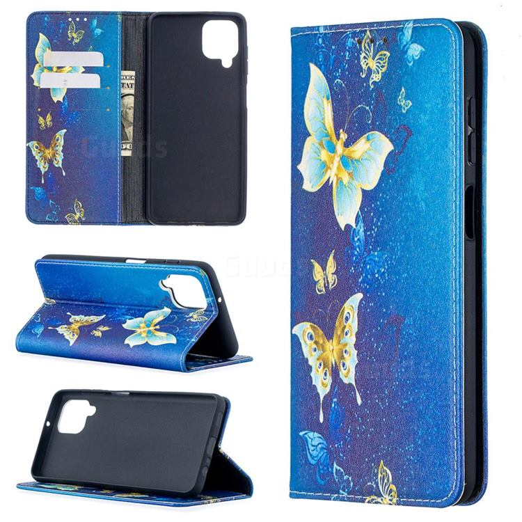 Gold Butterfly Slim Magnetic Attraction Wallet Flip Cover for Samsung Galaxy A12
